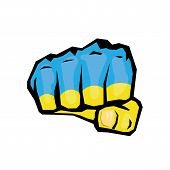 vector fist icon. fist colored in Ukraine flag