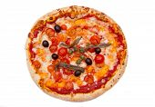 Pizza with anchovies and olives from above