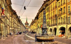stock photo of samson  - Kramgasse street in the Old City of Bern - UNESCO site in Switzerland ** Note: Soft Focus at 100%, best at smaller sizes - JPG