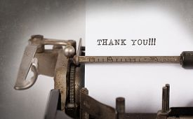 pic of old vintage typewriter  - Vintage inscription made by old typewriter thank you - JPG
