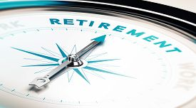 stock photo of retirement  - Compass with needle pointing the word retirement concept image to illustrate retirement planning - JPG