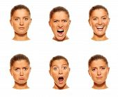 stock photo of emotions faces  - A set of six faces showing different emotions - JPG