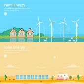 stock photo of wind energy  - Colorful vector flat banner set - JPG