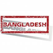 picture of bangladesh  - Outlined red stamp with country name Bangladesh - JPG