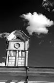 picture of manor  - tower with ancient clock on old manor roof and dark sky with cloudb&w picture ** Note: Visible grain at 100%, best at smaller sizes - JPG