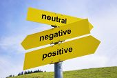 stock photo of positive negative  - Three yellow arrow signs with caption  - JPG