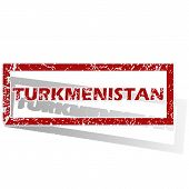 stock photo of turkmenistan  - Outlined red stamp with country name Turkmenistan - JPG