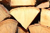 foto of firewood  - Stacks of chopped firewood prepared for winter - JPG