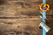 picture of pretzels  - Oktoberfest festival background with beer mug - JPG
