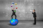 image of juggling  - Boss using speaker yelling at businessman balancing on sphere juggling with balls on concrete wall and floor background - JPG