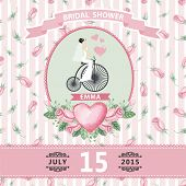 picture of rose bud  - Retro wedding invitation - JPG
