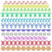 picture of stitches  - Set of Colorful Sewing Stitch Isolated on White Background - JPG