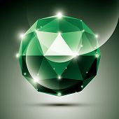 foto of emerald  - Abstract 3D emerald shiny sphere with sparkles - JPG