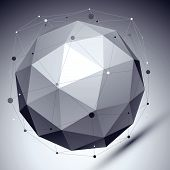stock photo of asymmetric  - Geometric vector abstract 3D complicated lattice backdrop - JPG