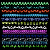 picture of stitches  - Set of Sewing Stitch Isolated on Black Background - JPG