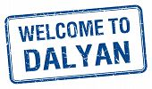 picture of dalyan  - welcome to Dalyan blue grunge square stamp - JPG