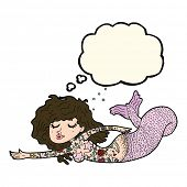 picture of mermaid  - cartoon mermaid with tattoos with thought bubble - JPG