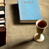pic of chalice  - chalice of wine with bread and bible - JPG