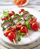 pic of pork  - Grilled kebabs with vegetables and pork tenderloin - JPG