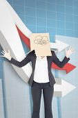 foto of down jacket  - Businesswoman with box over head against digital background with arrows going down - JPG