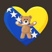 image of visitation  - Teddy Bears with heart with flag of Bosnia and Herzegovina - JPG
