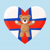 stock photo of faro  - Teddy Bears with heart with flag of Faroe Islands - JPG