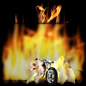 foto of chopper  - vector illustration motorbike chopper smashes a glass frame and pulled out of the fire - JPG