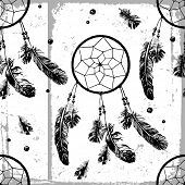 picture of dream-catcher  - Seamless pattern with hand drawn dream catchers and feathers  - JPG