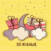 picture of eid al adha  - Stylish crescent moon with wrapped gifts on clouds - JPG