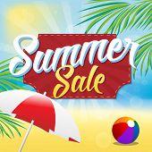 foto of beach-ball  - Summer Sale Vector Illustration - JPG