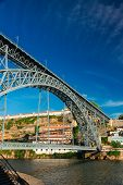 picture of dom  - bridge of Dom Luis I at sunny day in old Porto - JPG