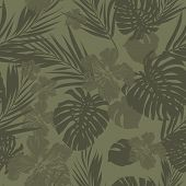 foto of jungle flowers  - Summer camouflage hawaiian seamless pattern with tropical plants and hibiscus flowers - JPG