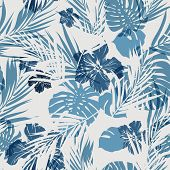 Постер, плакат: Tropical seamless monochrome blue indigo camouflage background with leaves and flowers