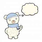 picture of crazy hat  - cartoon polar bear in winter hat and scarf with thought bubble - JPG