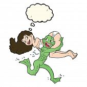 image of swamps  - cartoon swamp monster carrying girl in bikini with thought bubble - JPG