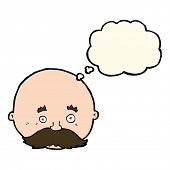 picture of bald man  - cartoon bald man with mustache with thought bubble - JPG