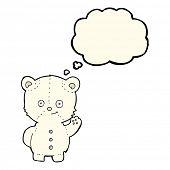 pic of bear cub  - cartoon polar bear cub with thought bubble - JPG