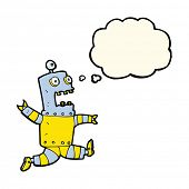picture of terrifying  - cartoon terrified robot with thought bubble - JPG