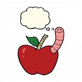 foto of worm  - cartoon apple with worm with thought bubble - JPG