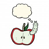 pic of caterpillar cartoon  - cartoon apple with bug with thought bubble - JPG