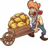 image of wheelbarrow  - Cartoon miner with a wheelbarrow full of gold - JPG