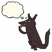 picture of licking  - cartoon wolf licking paw with thought bubble - JPG