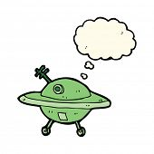 stock photo of flying saucer  - cartoon flying saucer with thought bubble - JPG