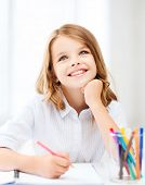 stock photo of little school girl  - education - JPG
