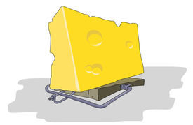 pic of mouse trap  - gigantic enormous cheese in traps for greed and fool mouse - JPG