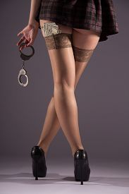 pic of stocking-foot  - Female prostitution violation of the law a fan of banknotes payment for services selling body for money the punishment for a crime immorality youth feet in nylon stockings - JPG