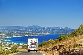 foto of caravan  - Caravan on the road at the mediterranean shore Provence Cote d - JPG
