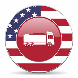 stock photo of tank truck  - truck american icon original modern design for web and mobile app on white background  - JPG
