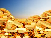 3D rendering of heap of gold bars poster