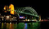 Sydney Harbor Bridge In Night Lights.